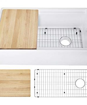 White Fireclay Single Bowl Apron Front Reversible Kitchen Sink With Ledge Wood Cutting Board And Stainless Steel Grid 33 In Beech 0 300x360