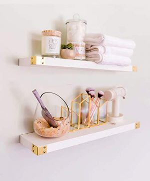 Willow Grace Wall Shelves White 24 Inch Shelves Easily Mounted All Wood Wall Shelves 3 Coat Lacquer Finish Wood Shelves For Bedroom Bathroom Kitchen White 24 Set Of 2 0 300x360
