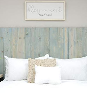 Winter Sky Headboard King Size Bluish Stain Hanger Style Handcrafted Mounts On Wall Easy Installation 0 0 300x332