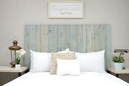 Winter Sky Headboard King Size Bluish Stain Hanger Style Handcrafted Mounts On Wall Easy Installation 0 0
