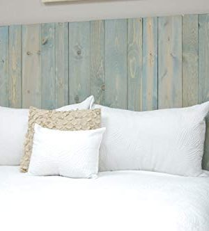 Winter Sky Headboard King Size Bluish Stain Hanger Style Handcrafted Mounts On Wall Easy Installation 0 1 300x332