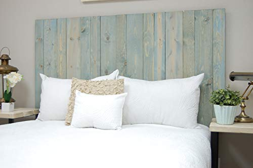 Winter Sky Headboard King Size Bluish Stain Hanger Style Handcrafted Mounts On Wall Easy Installation 0 1