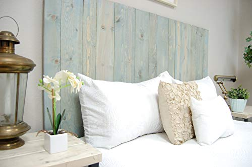 Winter Sky Headboard King Size Bluish Stain Hanger Style Handcrafted Mounts On Wall Easy Installation 0 2