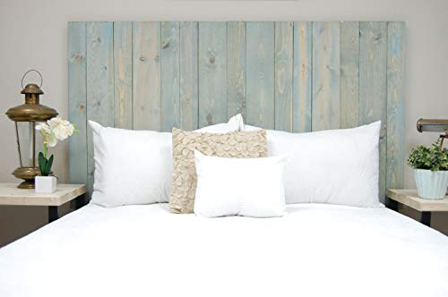 Winter Sky Headboard King Size Bluish Stain Hanger Style Handcrafted Mounts On Wall Easy Installation 0 3