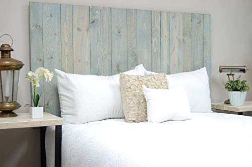 Winter Sky Headboard King Size Bluish Stain Hanger Style Handcrafted Mounts On Wall Easy Installation 0