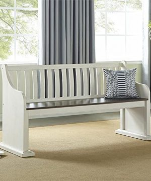 XPRESS WORLD Steve Silver Joanna Two Tone Ivory And Dark Oak Farmhouse Dining Bench With Back 0 0 300x360