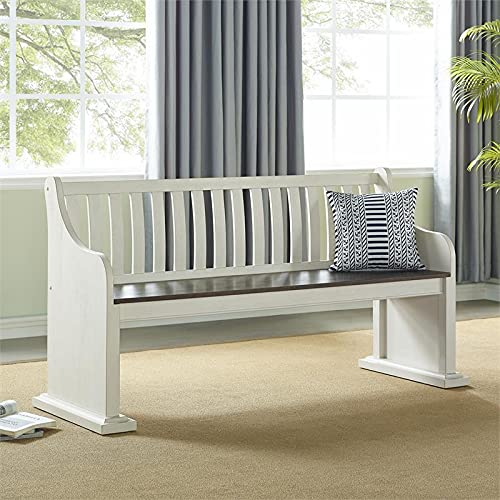 XPRESS WORLD Steve Silver Joanna Two Tone Ivory And Dark Oak Farmhouse Dining Bench With Back 0 0