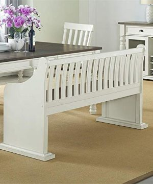 XPRESS WORLD Steve Silver Joanna Two Tone Ivory And Dark Oak Farmhouse Dining Bench With Back 0 1 300x360