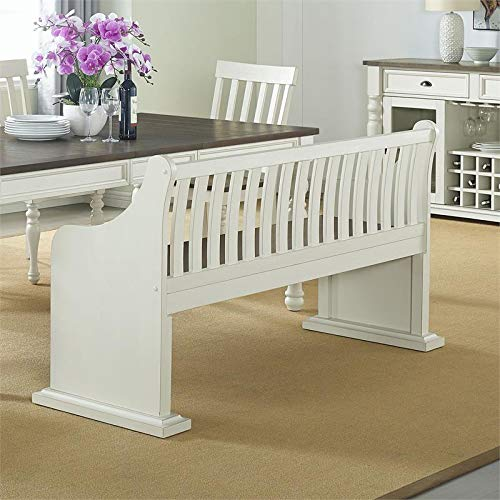 XPRESS WORLD Steve Silver Joanna Two Tone Ivory And Dark Oak Farmhouse Dining Bench With Back 0 1