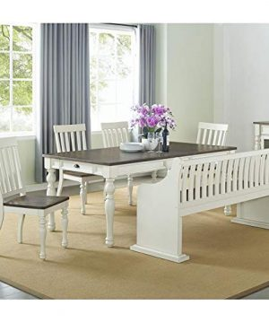XPRESS WORLD Steve Silver Joanna Two Tone Ivory And Dark Oak Farmhouse Dining Bench With Back 0 2 300x360