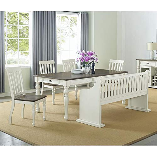 XPRESS WORLD Steve Silver Joanna Two Tone Ivory And Dark Oak Farmhouse Dining Bench With Back 0 2