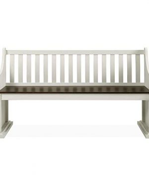 XPRESS WORLD Steve Silver Joanna Two Tone Ivory And Dark Oak Farmhouse Dining Bench With Back 0 300x360