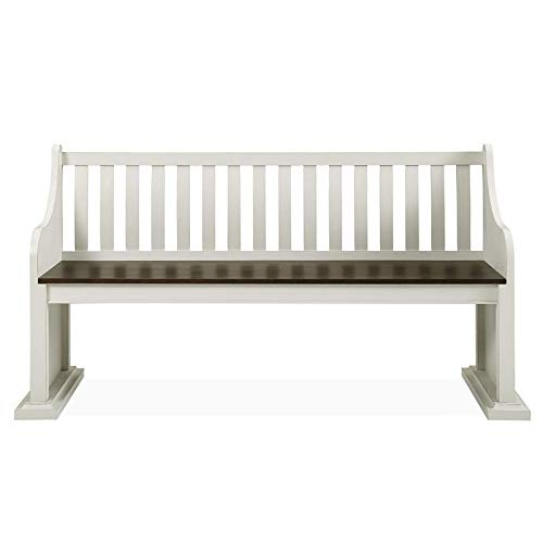XPRESS WORLD Steve Silver Joanna Two Tone Ivory And Dark Oak Farmhouse Dining Bench With Back 0