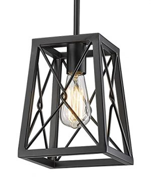 YEEHOME 7 Inches Farmhouse Pendant Light1 Light Metal Wire Cage Hanging Lantern Black Modern Pendant Light Fixture For Kitchen Island Dining Room Restaurant 0 300x360