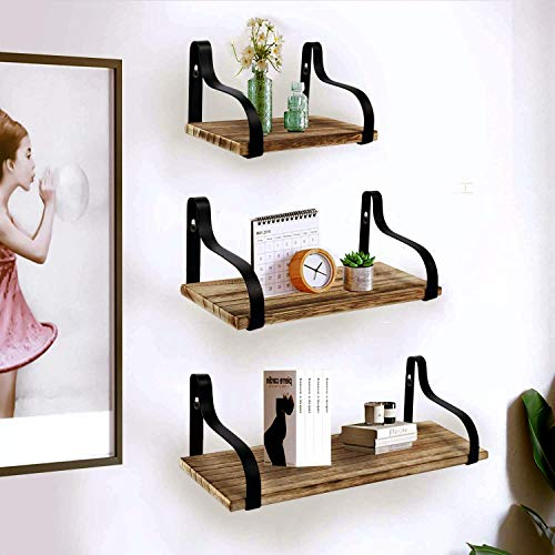YME YM Farmhouse Shelves For Wall Set Of 3 Rustic Wood Small Shelf Floating Perfect For Bedroom Living Room Bathroom Kitchen And Office Light Brown 0 0