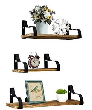 YME YM Farmhouse Shelves For Wall Set Of 3 Rustic Wood Small Shelf Floating Perfect For Bedroom Living Room Bathroom Kitchen And Office Light Brown 0 300x360