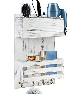 YME YM Wood Hair Dryer Holder Wall Mount Bathroom Hair Care And Styling Tool Organizer Farmhouse Wood Beauty Hair Appliance Holder With Shelf For Bathroom Accessories Makeup Toiletries White 0 300x360