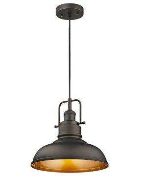 Zeyu Farmhouse Pendant Light 1 Light Industrial Hanging Light Fixture 11 Inch Oil Rubbed Bronze Finish 016 1 ORB 0 300x360