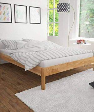 VidaXL Solid Oak Wood Bed Frame King Home Bedroom Furniture Platform Base 0 300x360