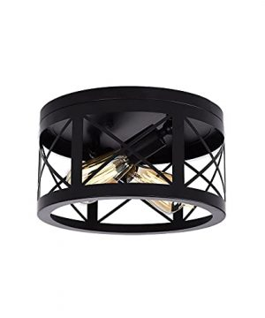 2 Light Flush Mount Ceiling Light Fixture Round Farmhouse Semi Black Light Fixtures Industrial Close To Ceiling Light For Hallway Stairway Living RoomBedroomLaundryFoyerEntrance 0 300x360