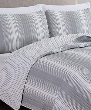 2 Piece Reversible Quilt Set With Shams All Season Bedspread With Ombre Striped Pattern Everette Collection Twin Grey 0 0 300x360