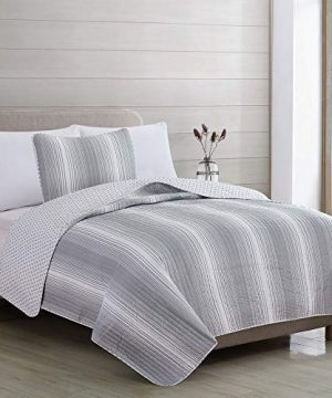 2 Piece Reversible Quilt Set With Shams All Season Bedspread With Ombre Striped Pattern Everette Collection Twin Grey 0 2 300x360