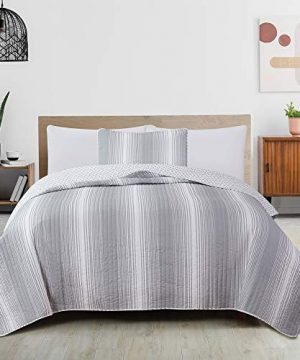 2 Piece Reversible Quilt Set With Shams All Season Bedspread With Ombre Striped Pattern Everette Collection Twin Grey 0 300x360