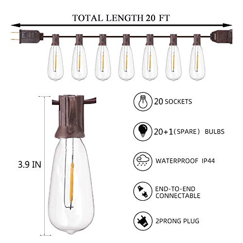 20Ft Outdoor ST40 LED String Lights With 22 Shatterproof Edison Clear Bulbs C9E17 Screw Base ST40 LED Patio String Lights UL Listed For Patio Backyard Garden Bistro Porch String Lights Brown Wire 0 0