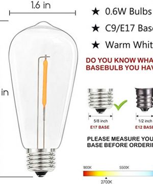 20Ft Outdoor ST40 LED String Lights With 22 Shatterproof Edison Clear Bulbs C9E17 Screw Base ST40 LED Patio String Lights UL Listed For Patio Backyard Garden Bistro Porch String Lights Brown Wire 0 2 300x360