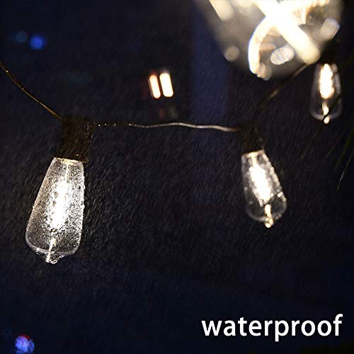 20Ft Outdoor ST40 LED String Lights With 22 Shatterproof Edison Clear Bulbs C9E17 Screw Base ST40 LED Patio String Lights UL Listed For Patio Backyard Garden Bistro Porch String Lights Brown Wire 0 3