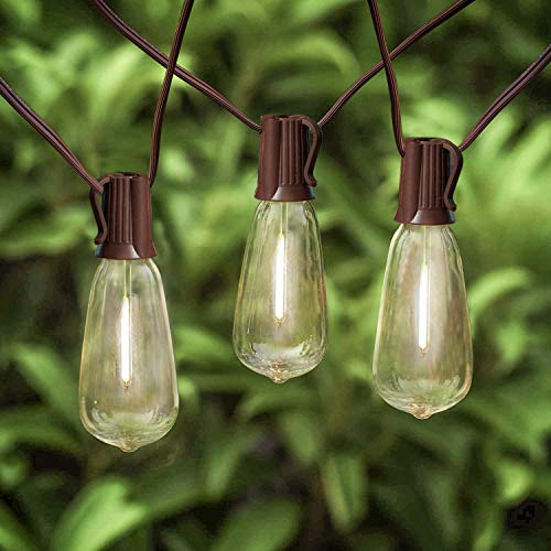 20Ft Outdoor ST40 LED String Lights With 22 Shatterproof Edison Clear Bulbs C9E17 Screw Base ST40 LED Patio String Lights UL Listed For Patio Backyard Garden Bistro Porch String Lights Brown Wire 0