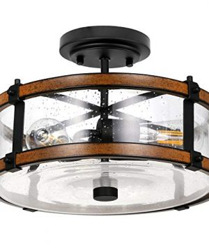 3 Light Close To Ceiling Light Industrial Semi Flush Mount Light Fixture With High Transparency Bubble Glass Lampshade Black Faux Wood Metal Farmhouse Chandelier For Entry Hallway Bedroom 0 300x360