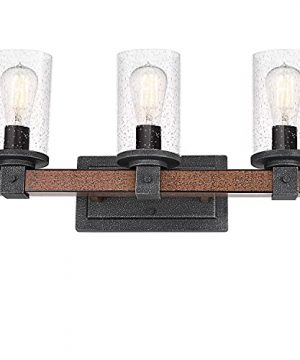 3 Light Farmhouse Vanity Light 22 Inch Industrial Bathroom Light Fixture With Seeded Glass Shades Faux Wood Metal Wall Sconce For Bathroom Kitchen Hallway 0 300x360
