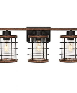 3 Light Industrial Bathroom Vanity Light Rustic Farmhouse Wall Light Fixture Metal Wire Cage Wall Sconce Wall Lamp Light Fixture For Bathroom Dressing Table Mirror Cabinets Vanity Table 0 300x360