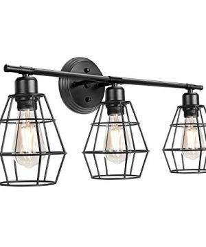 3 Light Industrial Bathroom Vanity Lights Farmhouse Wall Light Fixture Metal Cage Wall Sconce Vintage Porch Wall Lamp For Mirror Cabinets Kitchen Living Room Workshop 0 300x360