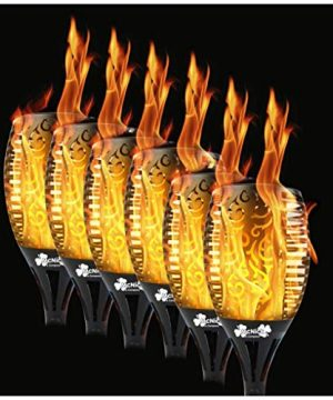6 Pack 96 LED Waterproof Solar Flickering Flame Torch Outdoor Tiki Torches Flickering Flame Lamp Pathway Lights 0 300x360