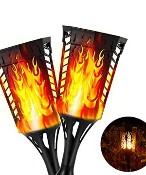 AODI Solar Flame Torch Lights 96 LED Solar Torch Lights With Multi Function Auto OnOff Waterproof IP65 Super Bright Flickering Flames Outdoor For Patio Wall Garden Lawn Pathway Night Party 2PACK 0 300x360