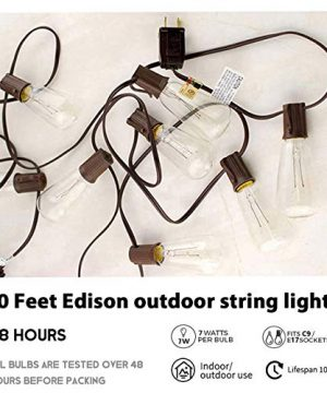 Afirst Outdoor String Lights 20FT With 22 Edison Bulbs Vintage Bistro Lights Waterproof ST40 String Lights For Patio Backyard Party Wedding Brown Cord 0 1 300x360