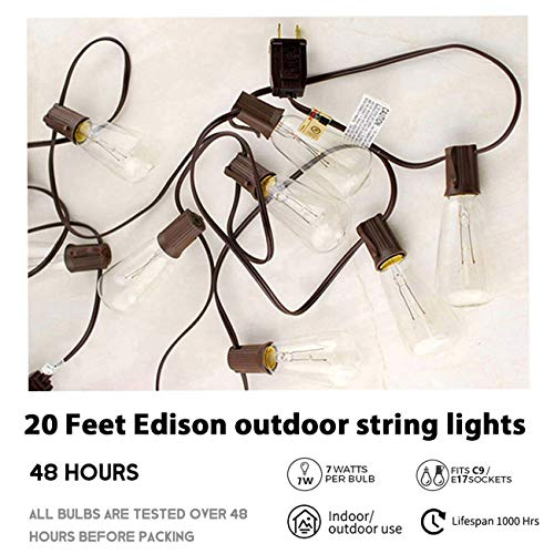 Afirst Outdoor String Lights 20FT With 22 Edison Bulbs Vintage Bistro Lights Waterproof ST40 String Lights For Patio Backyard Party Wedding Brown Cord 0 1