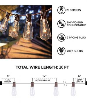Afirst Outdoor String Lights 20FT With 22 Edison Bulbs Vintage Bistro Lights Waterproof ST40 String Lights For Patio Backyard Party Wedding Brown Cord 0 4 300x360