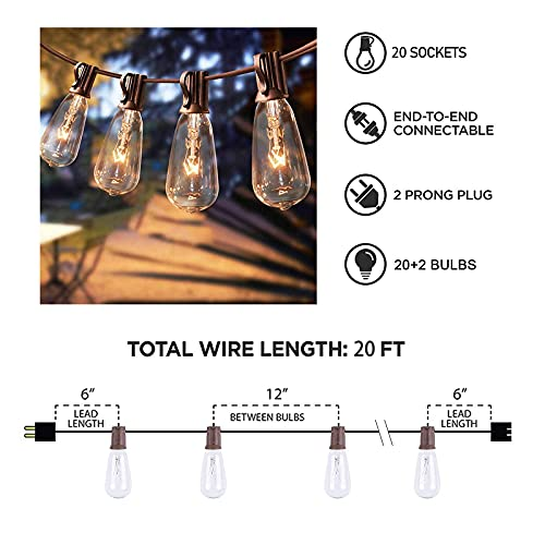 Afirst Outdoor String Lights 20FT With 22 Edison Bulbs Vintage Bistro Lights Waterproof ST40 String Lights For Patio Backyard Party Wedding Brown Cord 0 4