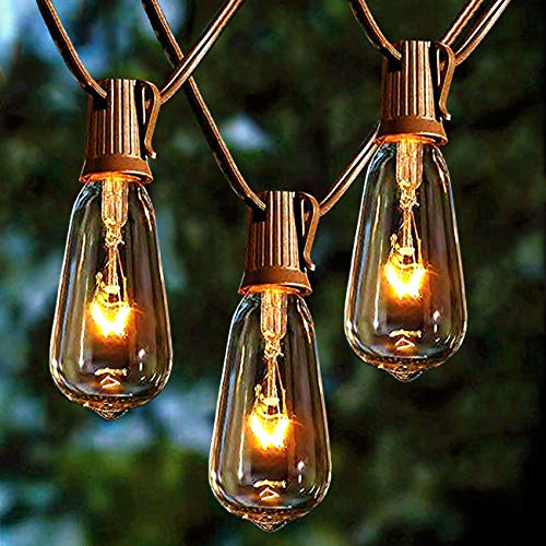 Afirst Outdoor String Lights 20FT With 22 Edison Bulbs Vintage Bistro Lights Waterproof ST40 String Lights For Patio Backyard Party Wedding Brown Cord 0