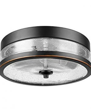 Amazon Brand Ravenna Home Single Light Flush Mount Ceiling Light With Seeded Glass Shade Vintage Edison Bulb Included 38H Oil Rubbed Bronze 0 300x360