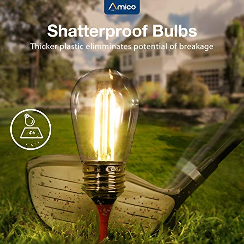 Amico 48FT LED Outdoor String Lights With Shatterproof LED Filament Bulbs For Patio Bistro Cafe Backyard Porch Party Warm White 0 0