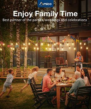 Amico 48FT LED Outdoor String Lights With Shatterproof LED Filament Bulbs For Patio Bistro Cafe Backyard Porch Party Warm White 0 5 300x360