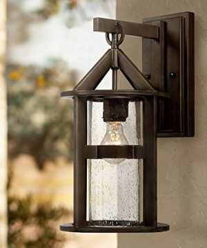 Argentine Modern Outdoor Wall Light Fixture Bronze Metal 17 Clear Seedy Glass Cylinder For Exterior Patio Porch House John Timberland 0 300x360