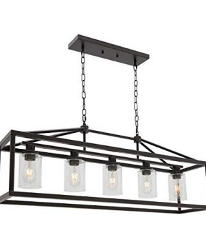 BONLICHT Industrial Rustic Farmhouse Chandelier 5 Light Modern Rectangle Dining Room Light Fixture Hanging Oil Rubbed Bronze Kitchen Island Cage Pendant Lighting With Clear Glass Shade For Hallway Bar 0 300x360