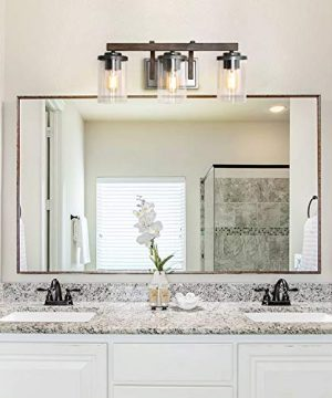 Bathroom Light Fixtures Farmhouse Vanity Light With Clear Glass Shades 3 Lights Wooden Wall Sconce For Bathroom Laundry Room Hallway 20 In Length 0 0 300x360