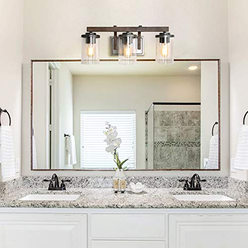 Bathroom Light Fixtures Farmhouse Vanity Light With Clear Glass Shades 3 Lights Wooden Wall Sconce For Bathroom Laundry Room Hallway 20 In Length 0 0
