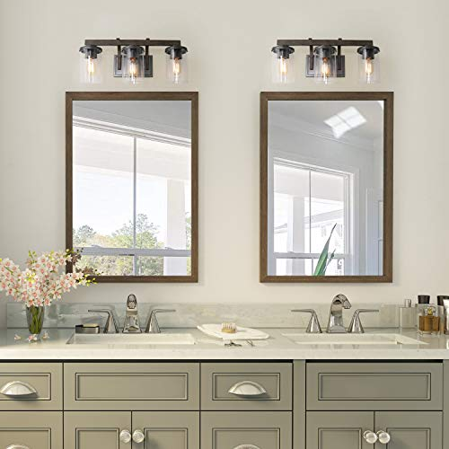 Bathroom Light Fixtures Farmhouse Vanity Light With Clear Glass Shades 3 Lights Wooden Wall Sconce For Bathroom Laundry Room Hallway 20 In Length 0 2